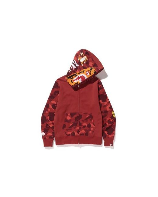 1808dba7 A Bathing Ape Color Camo Tiger Full Zip Hoodie Red in Red for Men - Lyst