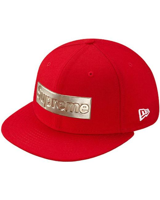 149330a1 Supreme Metallic Box Logo New Era Hat Red in Red for Men - Lyst