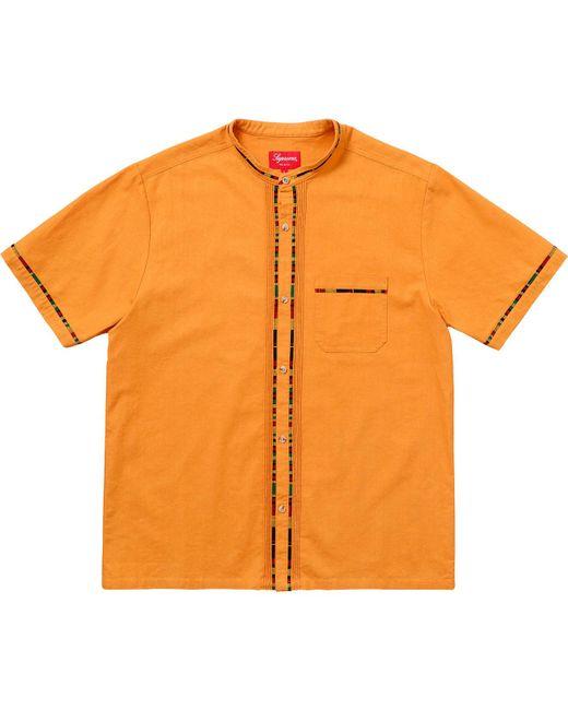 Supreme Metallic Short-sleeved Band Collar Shirt 'ss 18' for men
