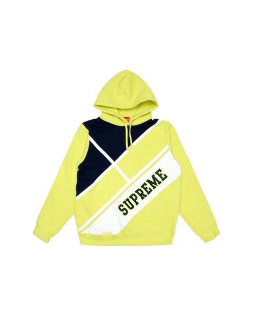 Supreme Yellow Diagonal Hooded Sweatshirt Lemon for men