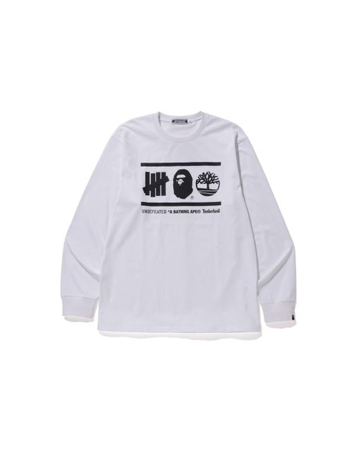 00deb050 Lyst - A Bathing Ape X Undefeated X Timberland L/s Tee White in ...