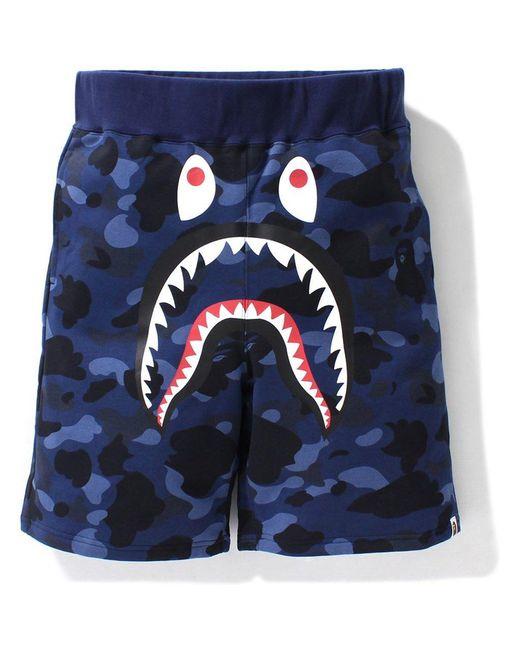 メンズ A Bathing Ape Color Camo Shark Sweat Shorts (ss21) Blue