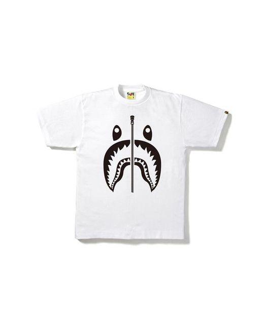 06e5ec820364c5 A Bathing Ape Bicolor Shark Tee White in White for Men - Lyst