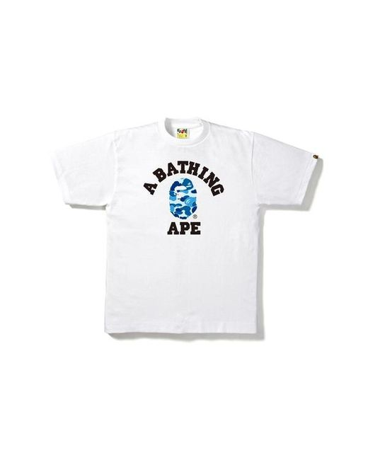 0d3caa1a A Bathing Ape Abc College Tee White/blue in White for Men - Lyst