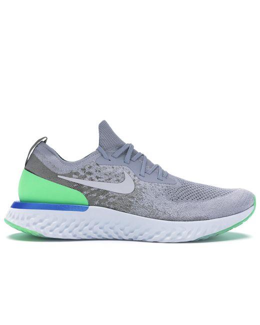 Nike Gray Epic React Flyknit Wolf Grey Lime Blast for men