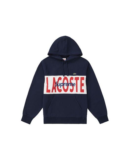 Supreme Blue Lacoste Logo Panel Hoodie Sweatshirt 'fw 19' for men