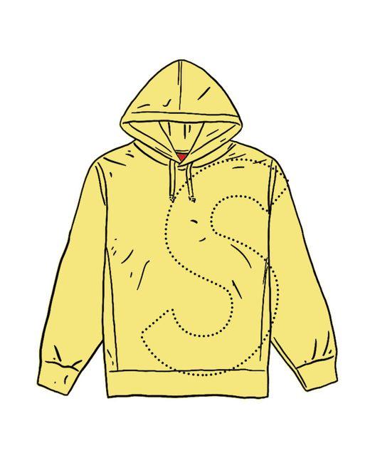 Supreme Yellow Laser Cut S Logo Hooded Sweatshirt for men