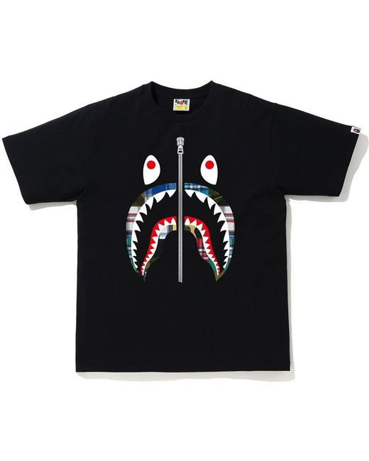 メンズ A Bathing Ape Patchwork Shark T-shirt Black