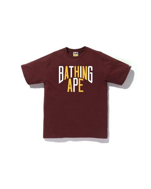 fa82f048 A Bathing Ape Colors Nyc Logo Tee Burgundy in Red for Men - Lyst