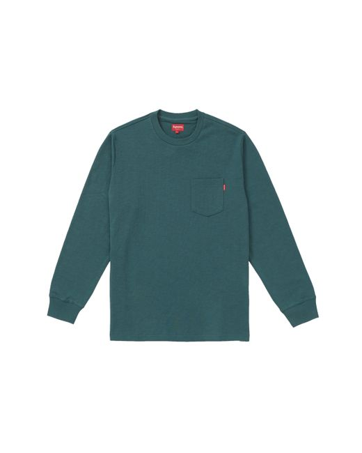 Supreme Green L/s Pocket Tee (fw18) for men