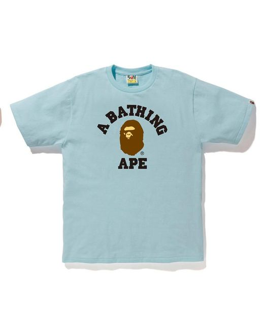 5ac10385 A Bathing Ape Pigment College Tee Light Blue in Blue for Men - Lyst