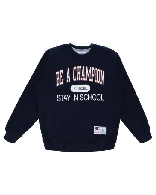 Supreme Blue Champion Stay In School Crewneck for men