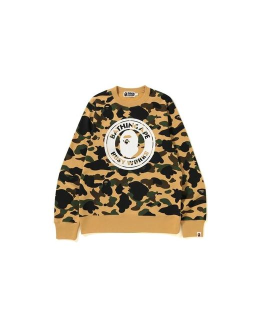 74d959a8f A Bathing Ape 1st Camo Busy Works Crewneck Yellow in Yellow for Men ...