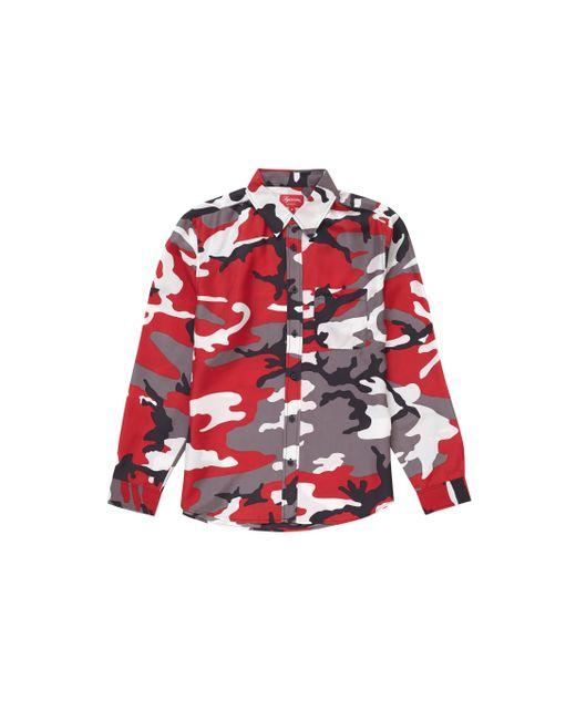 Supreme Red Silk Camo Shirt for men