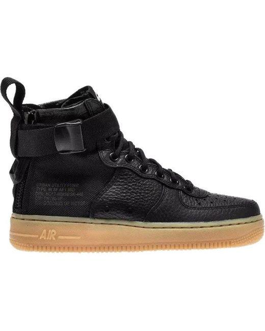 Nike Black Sf Air Force 1 Mid Leather Sneaker