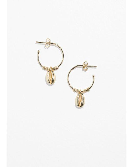 & Other Stories - Metallic Puka Shell Hoop Earrings - Lyst
