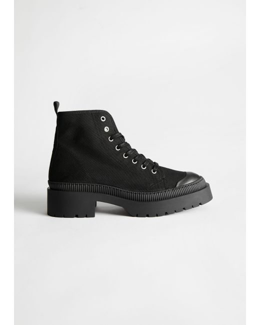 & Other Stories Black Chunky Canvas Lace Up Boots