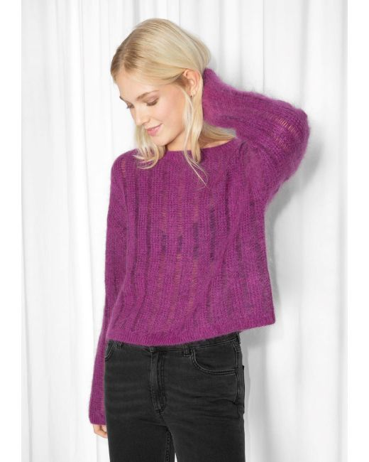 Knitting Patterns Mohair Wool : & other stories Fuzzy Mohair & Wool Knit in Purple Lyst