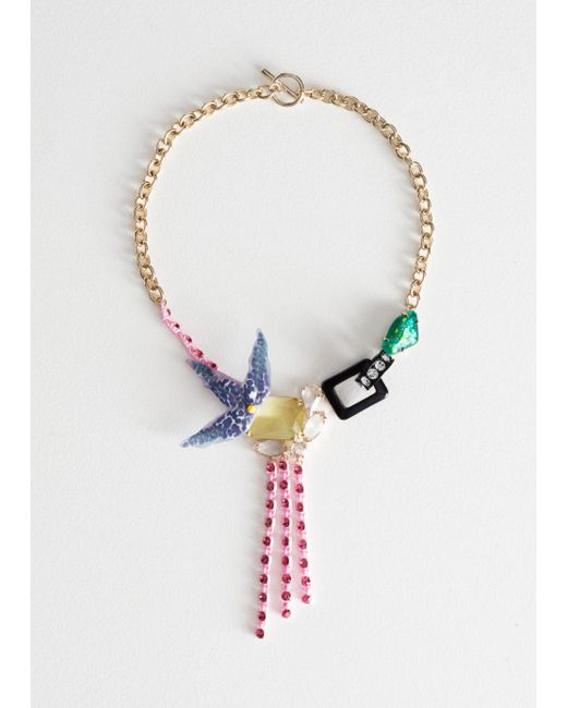 & Other Stories - Blue Tropical Flower Jewelled Necklace - Lyst