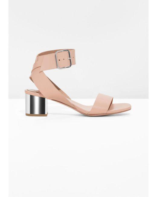 & Other Stories Orange Mirrored Heel Leather Sandals