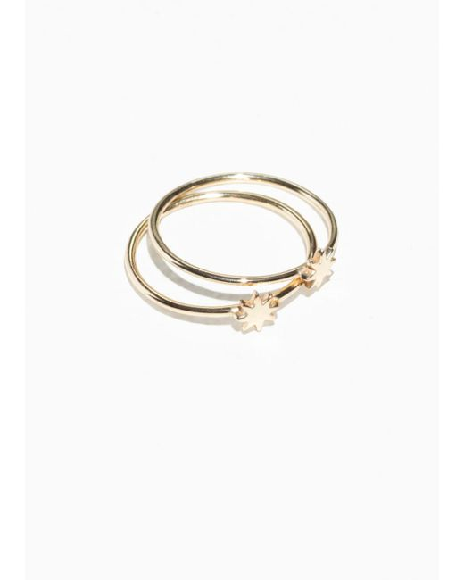 & Other Stories - Metallic Stacked Star Ring - Lyst
