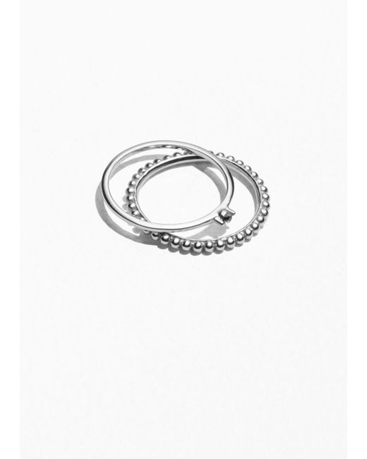 & Other Stories - Gray Dotted Rings - Lyst