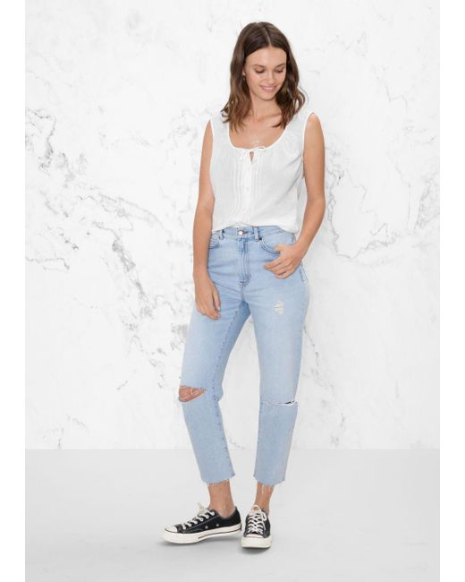 & Other Stories - Blue Ripped Denim Jeans - Lyst
