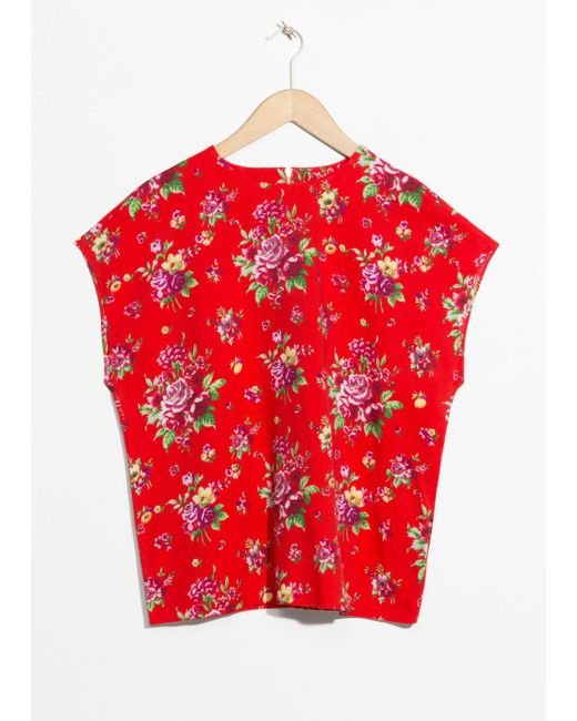 & Other Stories Red Viscose Top