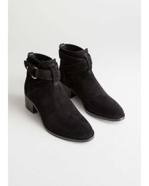 d568cc156d7   Other Stories Heeled Suede Ankle Boots in Black - Lyst