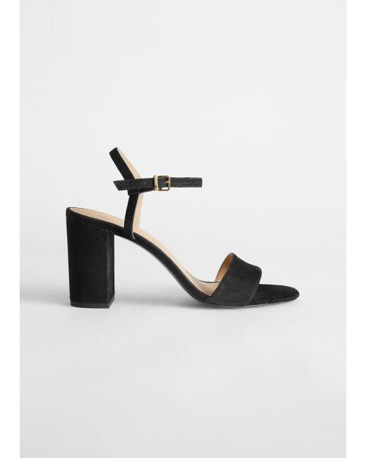 strappy suede block heels