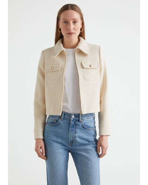 & Other Stories White Cropped Tweed Jacket
