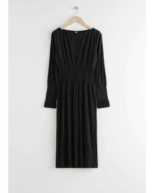 & Other Stories Black Smocked Midi Dress