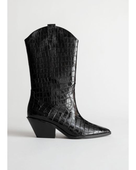 & Other Stories Black Croc Embossed Leather Cowboy Boots