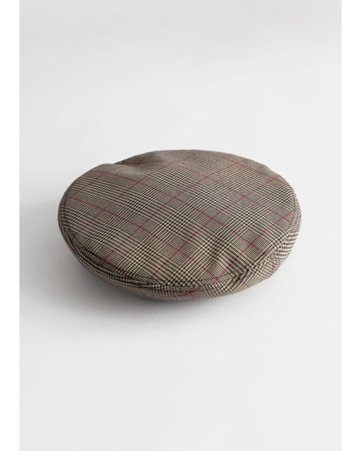 & Other Stories Black Plaid Check Puff Beret