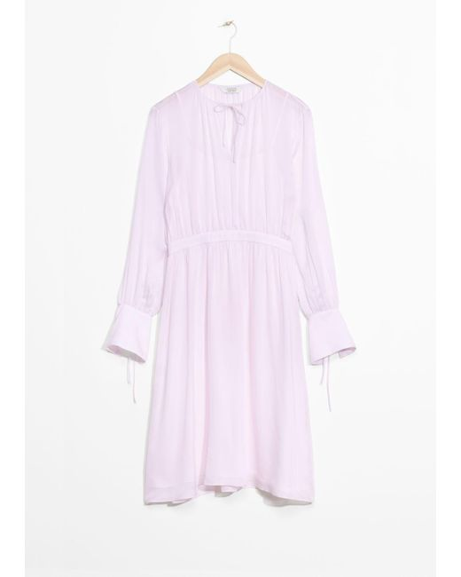 & Other Stories Purple Silk Dress