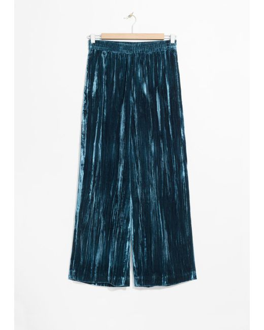 & Other Stories Blue Wide Velvet Trousers