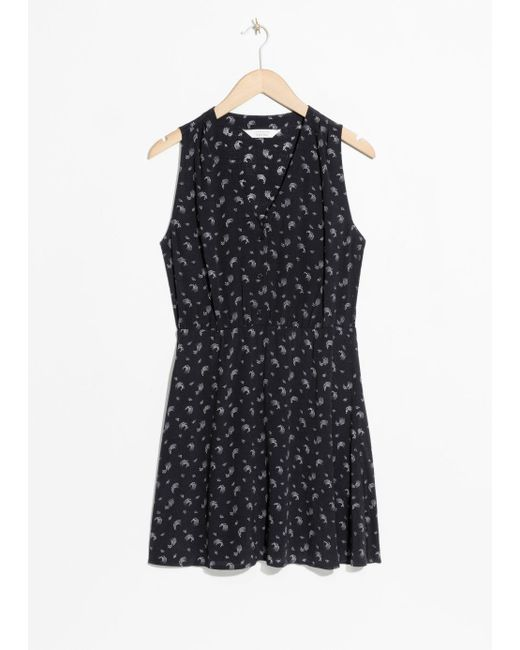 & Other Stories Black Printed Skater Dress