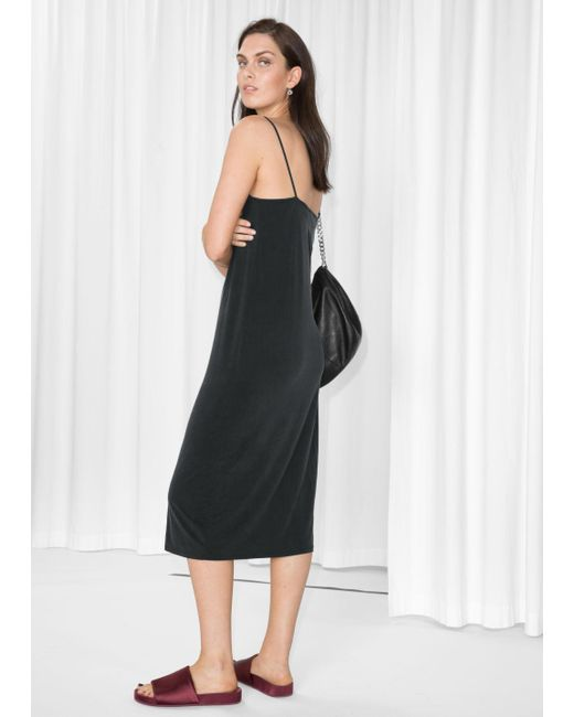 & Other Stories - Black Cami Strap Cupro Dress - Lyst
