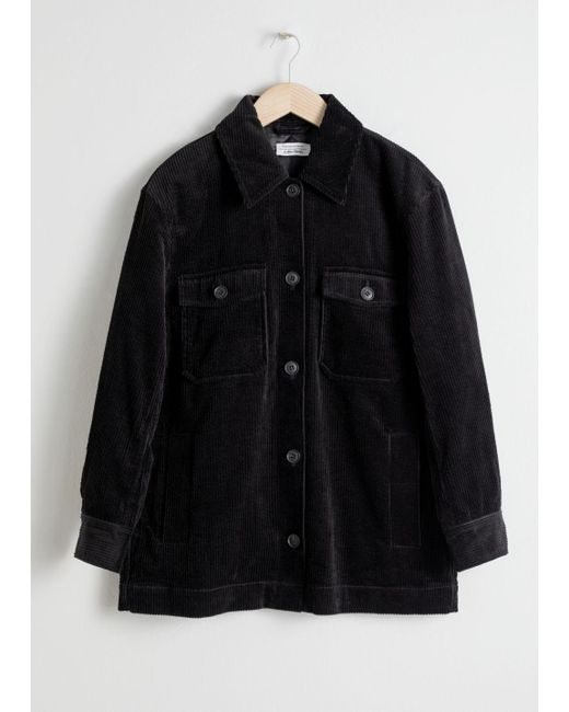 & Other Stories Black Oversized Corduroy Jacket