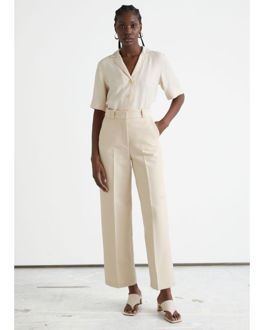 & Other Stories Natural Wide Press Crease Trousers