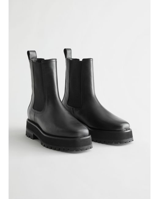 & Other Stories Black Squared Toe Leather Chelsea Boots