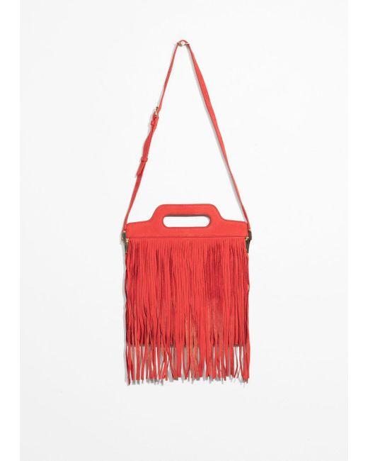 & Other Stories - Red Fringe Suede Shoulder Bag - Lyst
