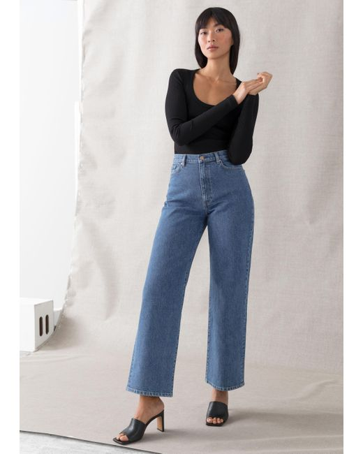 & Other Stories Blue Treasure Cut Cropped Jeans