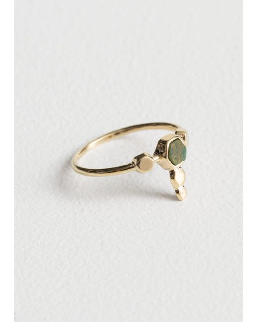 & Other Stories - Green Hexagon Charm Ring - Lyst