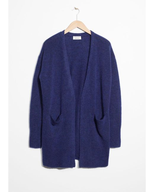 & Other Stories - Blue Wool Blend Cardigan - Lyst