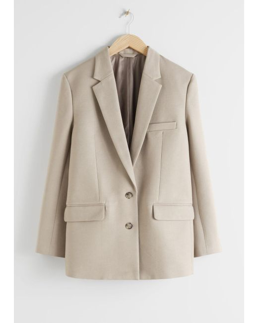 & Other Stories Natural Tailored Single Breasted Cotton Blazer