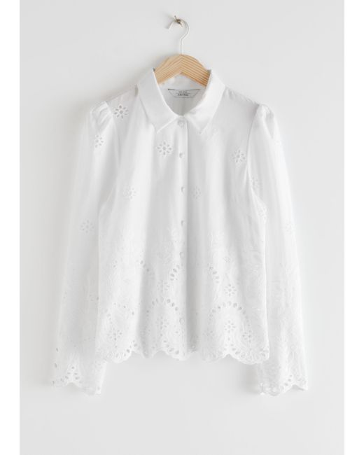 & Other Stories White Broderie Anglaise Blouse
