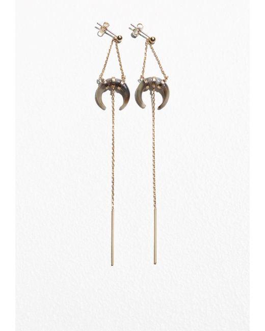 & Other Stories | Metallic Pending Horn Earrings | Lyst