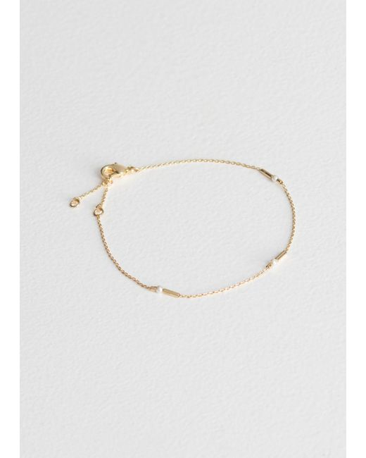 & Other Stories - Metallic Square Bead Chain Bracelet - Lyst
