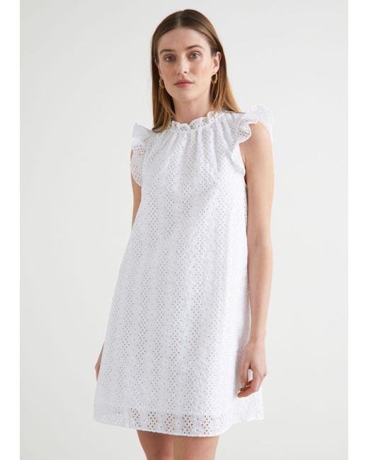 & Other Stories White Frilled Broderie Anglaise Mini Dress